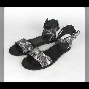 Vince sz 39 snake flat ankle wrap sandal